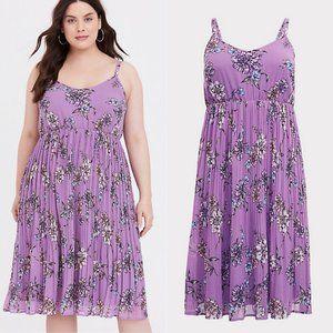 Torrid Lavender Purple Floral Chiffon Midi Dress